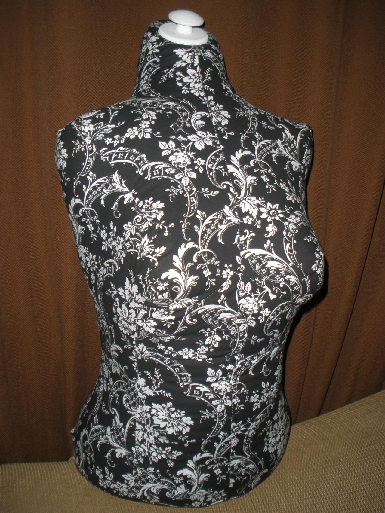 Boutique Dress form designs with stand. Life size torso great for store front or home decor inspired by Pottery Barn. Black and White Damask print.