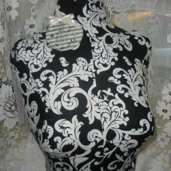 Decorative Bust form designs to the waist, life size torso great for store front display or home decor. Black damask print.